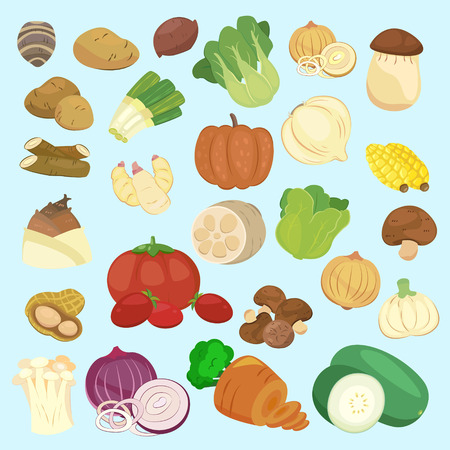 taro: lovely vegetable collections set in cartoon style