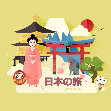 lucky cat: attractive Japan travel poster - Money on lucky cat and blessed on daruma in Japanese words