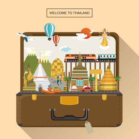 adorable Thailand travel poster with attractions in luggage