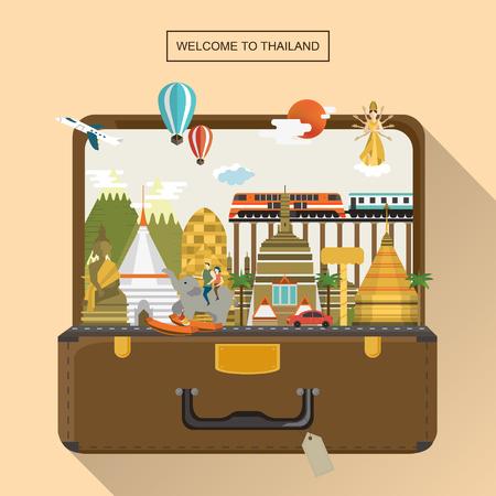 voyage: affiche de Voyage Thaïlande adorable avec des attractions dans les bagages Illustration