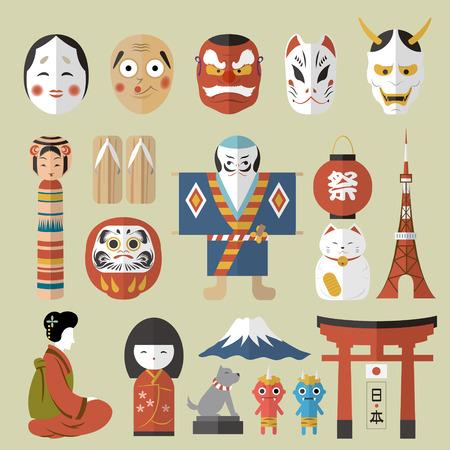 日本: 素敵な日本旅行コレクション - ランタン祭単語と日本語の単語の右下に日本