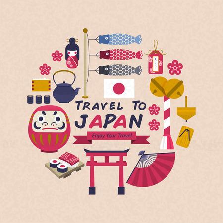 플랫 스타일의 사랑스러운 일본 문화 기호 컬렉션 일러스트