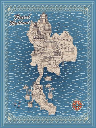 reise retro: Retro-Karte Thailand Reise-Konzept in dünne Linie Stil