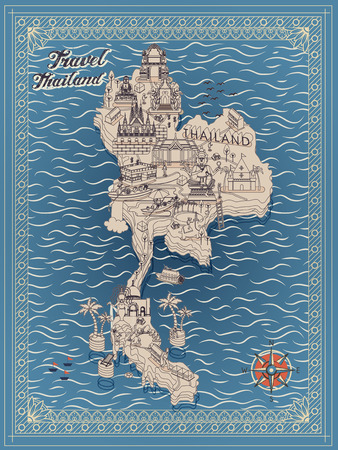 travel map: retro Thailand travel concept map in thin line style