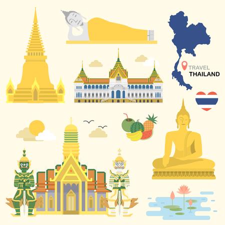 플랫 스타일에서 설정 사랑스러운 태국 여행 개념 컬렉션 일러스트