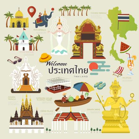 exquise reisconcept verzameling Thailand in vlakke stijl - Thailand naam van het land in het Thais