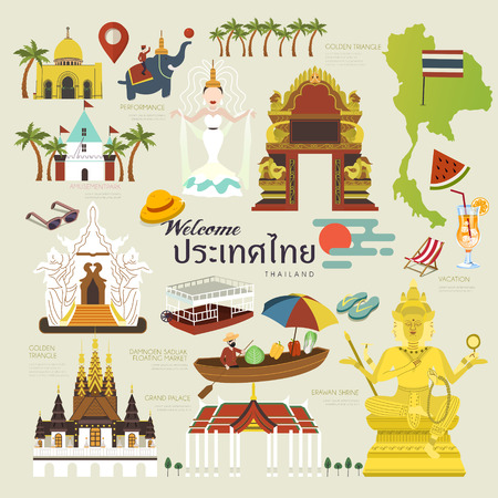exquisite Thailand travel concept collection set in flat style - Thailand country name in Thai