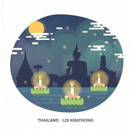 loy krathong: Thailand Loy Krathong concept poster in flat style