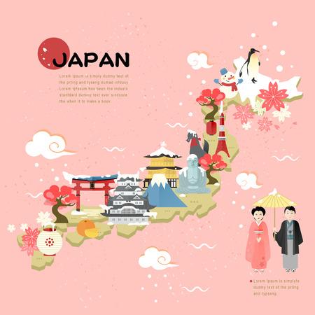 путешествие: красивая Япония карта путешествия в плоском стиле