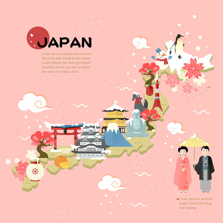 beautiful Japan travel map in flat style Ilustração