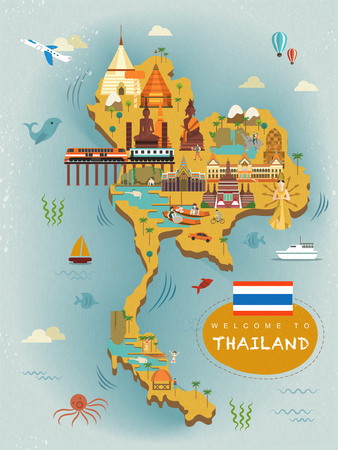 thai culture: adorable Thailand travel concept poster in flat style Illustration
