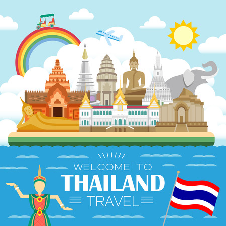 adorable Thailand travel concept poster in flat style Ilustracja