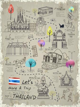 aantrekkelijk Thailand wandelkaart poster in lijn stijl