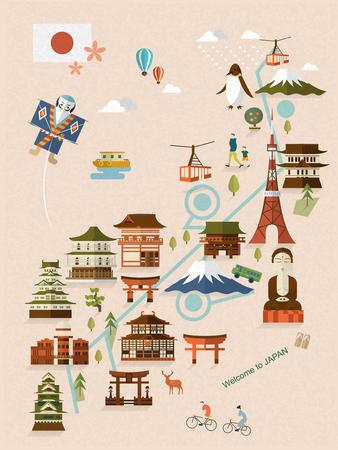 伝統: 素敵な日本のフラット スタイルのウォーキング マップ  イラスト・ベクター素材