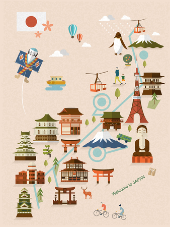 bombe atomique: belle carte Japon marchant dans un style plat