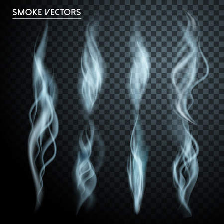 abstract smoke: abstract smoke elements collection set over transparent background Illustration