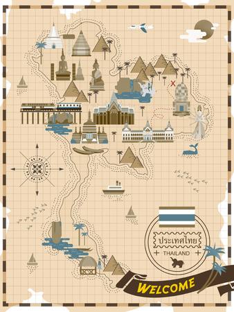 線スタイル - タイ語でタイ国の名前でレトロなタイ旅行コンセプト ポスター  イラスト・ベクター素材