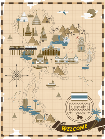 retro reisconcept poster Thailand in lijn stijl - Thailand naam van het land in Thaise woord