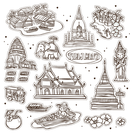 thai dance: adorable Thailand travel concept collection set in hand drawn style