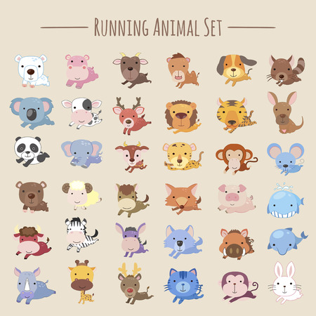 adorable running animals collection set in cartoon style