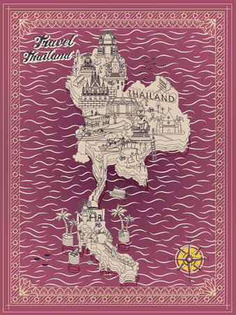 thai culture: retro Thailand travel concept map in thin line style