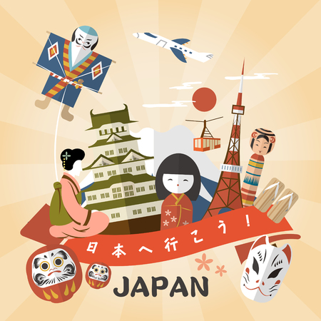 japanese: lovely Japan travel poster - Go to Japan in Japanese words on the banner