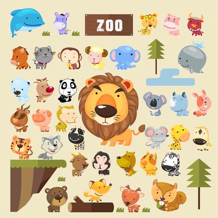 動物: 可愛的動物集合中的卡通風格設置