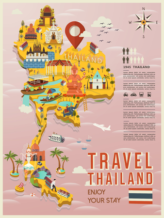 vacation map: attractive Thailand travel concept map in flat style