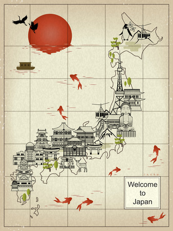 an island tradition: retro Japan travel map - hello in Japanese words on lower right