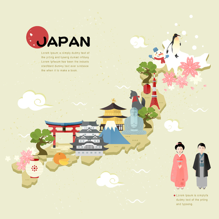 플랫 스타일의 아름다운 일본 여행지도