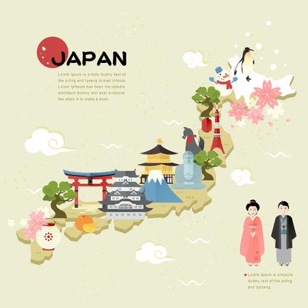 JAPON: belle carte Voyage au Japon dans un style plat Illustration