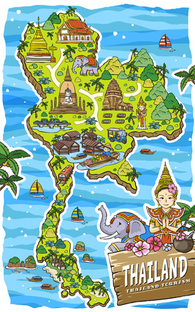 travel map: adorable Thailand travel concept map in hand drawn style