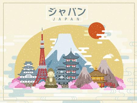 아름다운 일본 여행 포스터 - 일본 중간에 일본어 단어에서