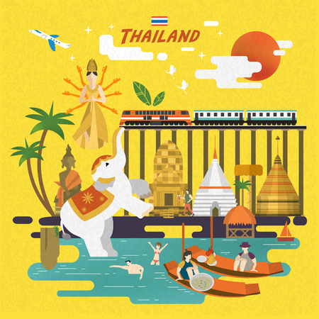 attractive Thailand travel concept poster in flat style  イラスト・ベクター素材