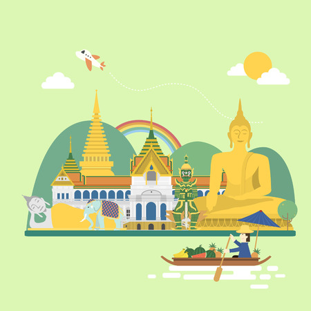 adorable Thailand travel concept poster in flat style Illustration