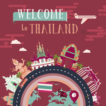 thai culture: lovely Thailand travel concept poster in flat style Illustration