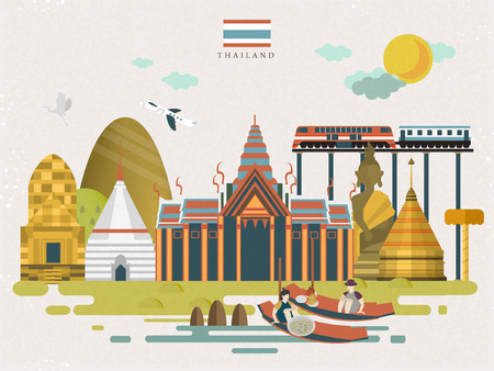 thailand culture: attractive Thailand travel concept poster in flat style Illustration