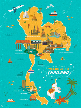 ayutthaya: adorable Thailand travel concept poster in flat style Illustration