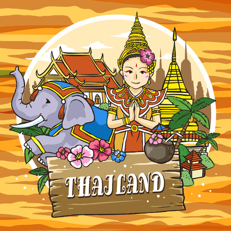 thailand culture: adorable Thailand travel concept poster in hand drawn style