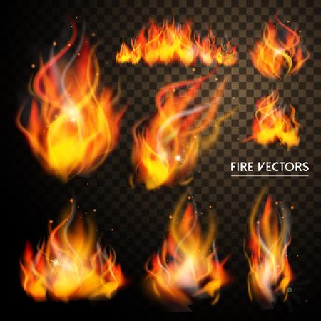 llamas de fuego: elegante colección de elementos de la llama de conjunto sobre fondo transparente