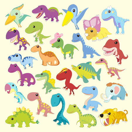 prehistory: adorable cartoon dinosaur collections set in flat style