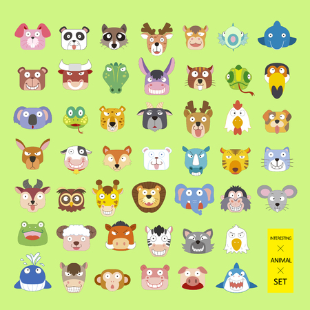 verzameling mooie dierenkoppen in vlakke stijl