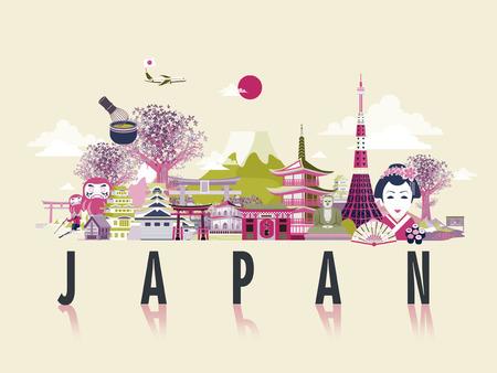 フラット スタイルで素晴らしい日本旅行ポスター デザイン