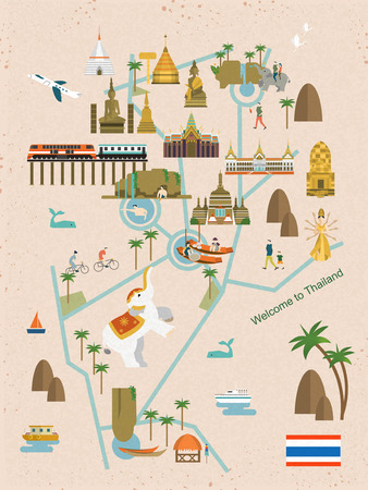ayutthaya: adorable Thailand walking map in flat style Illustration