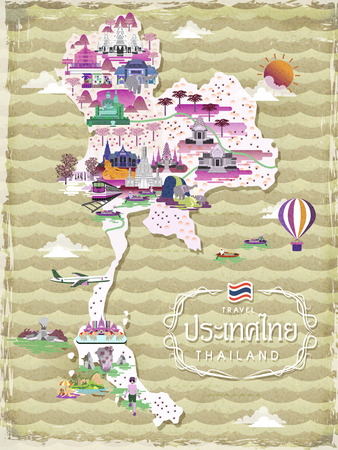 floating market: attractive Thailand travel map - title word is Thailand country name in Thai