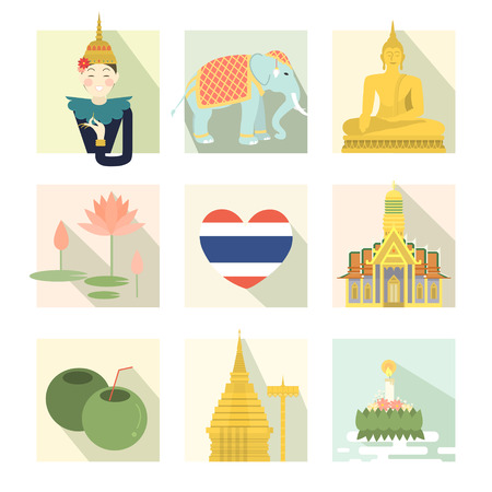 krathong: adorable Thailand travel concept collection set in flat style