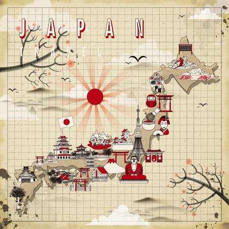 reise retro: retro Japan Reise-Karte Design in flachen Stil