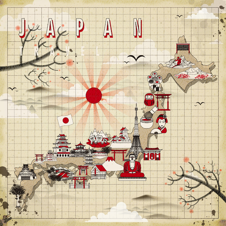 hokkaido: retro Japan travel map design in flat style Illustration