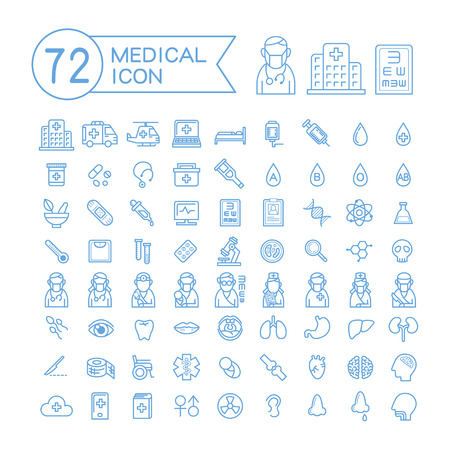 72 medical icons set over white background
