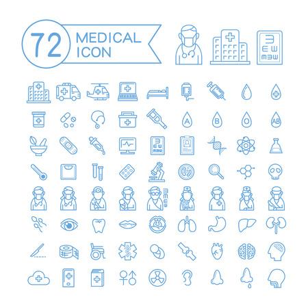 72 medische pictogrammen die op een witte achtergrond